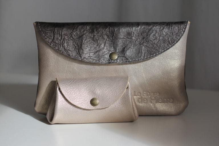Compagnon à rabat cuir gris acier et nude {Cf.C 06] (39)