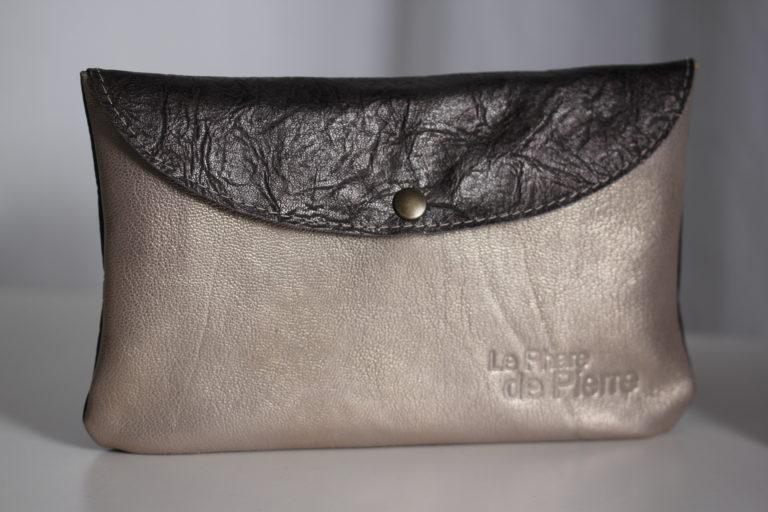 Compagnon à rabat cuir gris acier et nude {Cf.C 06] (8)